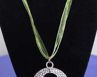 Sterling Silver Pendant on Organza/Rope Necklace