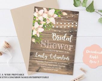 Rustic Floral Bridal Shower Invitation Template, Rustic Bridal Shower Invitation Template, Barn Wood Bridal Shower Invite, Wedding Shower