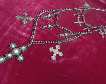 Necklace of crosses in the style of rock, gothic, creative necklace crosses in the style of rock