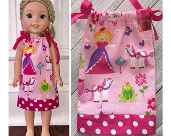 """14.5"""" Doll Clothes/WellieWishers Doll Clothes/American Girl/Pillowcase Dress/Wellie Wishers Princess"""