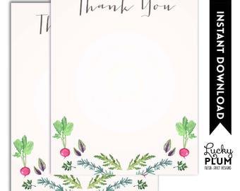 Farmers Market Thank You Card / Vegetable Thank You Card / Farm to Table Thank You Card / Locally Grown Rustic Digital Printable FM01