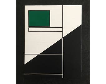 """11x14"""" ORIGINAL abstract painting, ready to hang - art, decor, green, white, navy"""