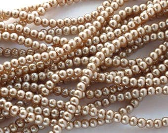 Glass Pearls Champagne 4mm Round Beads Full Strand