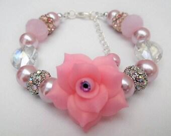 Pink Bracelet with Rose Flower, Mother of the Bride Gift, Pink Pearl Bracelet, Single Strand Bracelet, Unique Jewelry, Floral Bracelet
