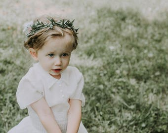 Flower girl crown, White flower crown, greenery girl crown, rose floral wreath, Toddler Photo Prop, Photography prop, Little girl headband