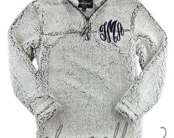Sherpa Quarter Zip Monogrammed Pullover
