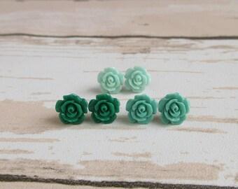 Dainty Rose Stud Earrings - Green, Turquoise, Baby Blue, Bridesmaid Earrings, Resin Rose, Stainless Steel Post