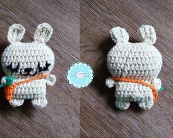 Mini cream bunny tiny carrot bag - cotton amigurumi handmade white beige rabbit plush newborn baby kid boy girl pretend play chew toy gift
