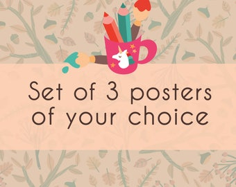 3 illustrated poster of your choice, Set of three prints for your home, kids room or nursery - choose your favorite and save money