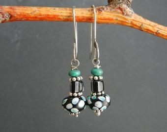Black--White & Blue Dot--Antique Gemstone Stack--Rare Venetian Trade Bead Earrings