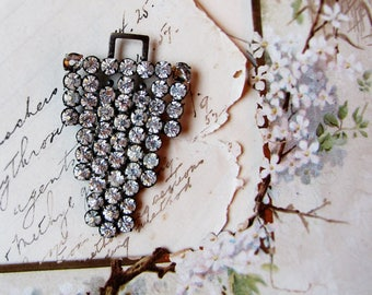 rhinestone buckle pendant - altered art deco found object for assemblage jewelry projects
