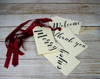 Gift Tag set of 4 Large Calligraphy Tags Welcome Merry Thank You Enjoy