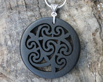 Celtic Spiral Necklace, Ebony Spiral Of Life Pendant, Irish Made Gift, Triple Goddess Wooden Pendant, Unique Wood Anniversary Gift