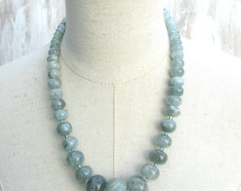 Chunky Labradorite Beaded Necklace, Moss Green Grey Sage Beachy Beads