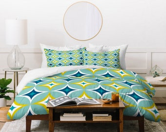 Midcentury Modern Geometric Duvet Cover // Twin, Queen, King Sizes // Home Decor // Astral Slingshot Design // Bedding // Aqua // Bedroom
