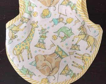 Bib, baby bib, bibs, boy bib, girl bib, Gender neutral bib/bapron for baby/toddler with pastel yellow and aqua circus animals 6-18 months