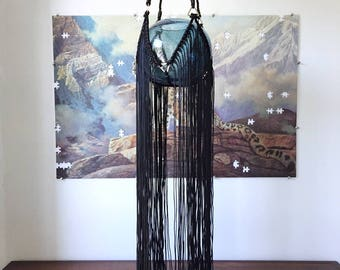 Samara – Black Fringe Chenille Plant Hanger – 66 inches tall