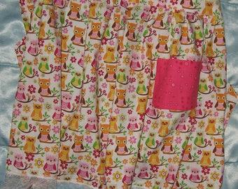 JKW Handmade Hoot Barn OWL Half Apron with Pocket and Lace