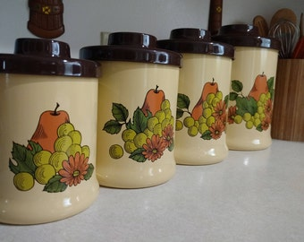 Vtg Atapco Fruit and Floral Retro Brown Yellow Metal Kitchen Canister Set