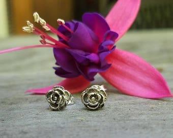 rose earrings ~ silver post earrings rosebuds silver bridal jewelry wedding bridesmaid roses