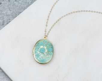 Long Blue Locket Floral Necklace, Bridal Locket Oval Flower White Pendant, Long Locket Floral Design, Engraved Long Locket Pendent Aqua Blue