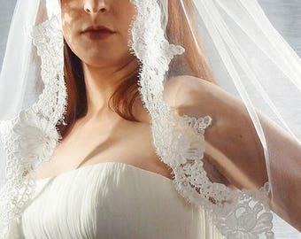 Lace Wedding Veil, French Alencon Lace Veil, 1-Tier Lace Veil, Ivory Lace Bridal Veil, Lace Veil, Floral Lace Veil