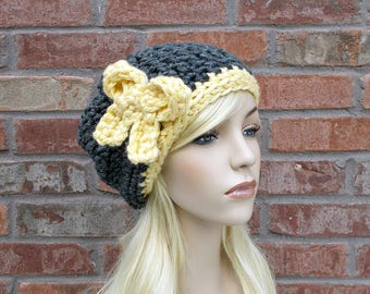 Slouchy Beanie, Charcoal Gray and Yellow, Hat with Bow, Chunky Beanie, Cute Hats, Hand Crocheted Items for Women Teens Tweens Slouch Hat