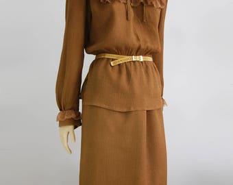 Silk vintage set from maison d'ellas, Silk blouse, Silk skirt, brown set
