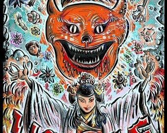 House Hausu Art Print Japanese 70's 70s psychedelic horror weird girl girls joe badon 1977  Nobuhiko Ôbayashi cat kitten