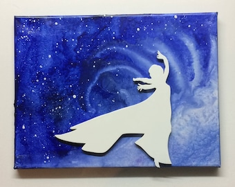 Elsa Inspired Melted Crayon Art Painting