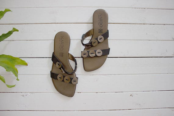 Vintage Leather Sandals 5 / Leather Slides / Strappy Sandals / Italian Leather Sandals / Minimal Shoes