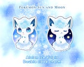 "Pokemon Sun Moon Ice Vulpix clear acrylic charm | 2.4"" double sided different design | alolan kawaii chibi keychain gift"