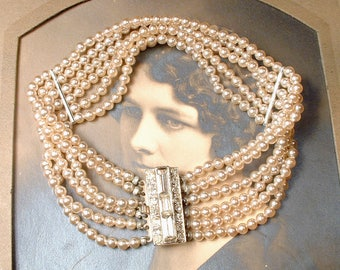 1920 Art Deco Multi Strand Pearl Bracelet,Ornate Pave Rhinestone Clasp Glass Champagne Ivory Bridal 1930 Gatsby Vintage Wedding Antique