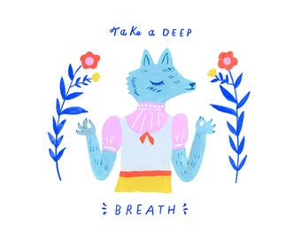 Creatures of Healthy Habits Meditating Wolf by Sarah Walsh