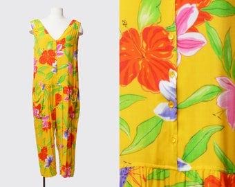 Vintage 80s Tropical Floral GRUNGE Jumpsuit Harem 1980s Pantsuit Romper Pants ANKLE Boho Summer Sleeveless Button Up Yellow Pink Green m l