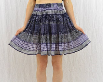 Vintage Mini Broomstick Skirt, Size XS- Small, High Waisted, Country Girl, Summer Skirt, Mori Girl, Blue