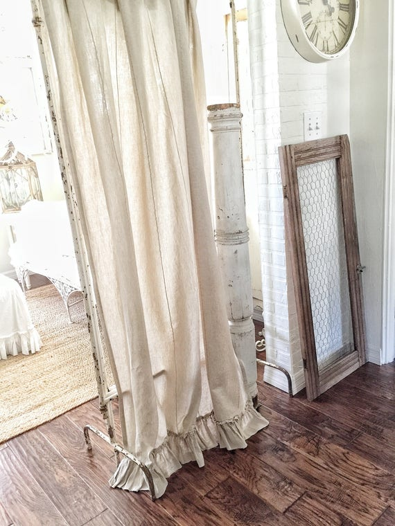 Ruffled Linen Curtain Panels Ruffled Curtains Farmhouse