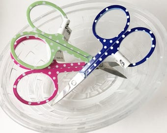 Small Embroidery Scissors - Polka Dot Embroidery Scissors - Thread Snips - Choose Pink, Blue or Green
