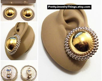 Avon Domed Beaded Big Button Clip On Earrings Gold Silver Tone Vintage 1992 White Padded Highly Polished Pebbled Back Discs