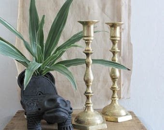 Tall 10 Inch Vintage Etched Brass Candlestick Holders