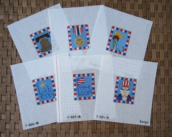 """PATRIOTIC ORNAMENTS Hand Painted Needlepoint Canvas CHOICE """"bongo"""" Signed"""