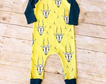 Drop Crotch Romper. Unisex Toddler Romper. Harem Romper. Trendy Kids' Clothes. Kids Hipster Style Clothes Kids One Piece Gender Neutral