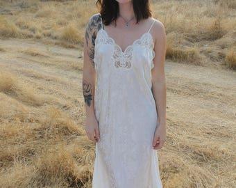 Frost Vintage 90s Slip Dress Night Gown White Lingerie