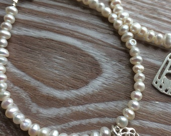 Ivory Fresh Water Pearl and Sterling Silver Heart Charm Bracelet