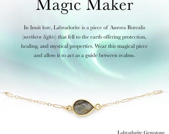 "Dainty Genuine Labradorite Stone Teardrop Bracelet Northern Lights ""Magic Maker"" Affirmation Jewelry 14k Gold Filled or Sterling Silver"