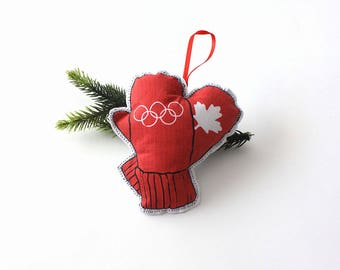 Christmas Mittens ornament: Canadian Tree decoration- Olympics holiday ornament