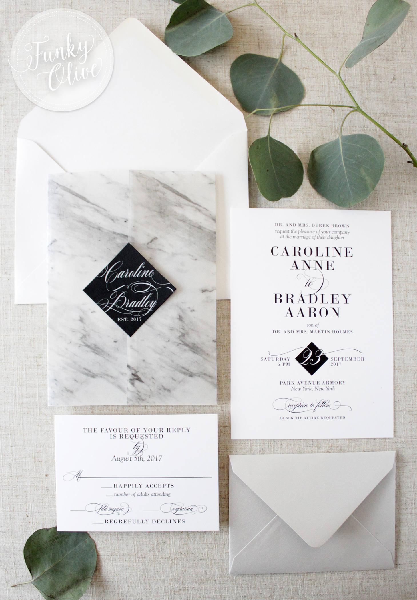 Marble Vellum Wrap Wedding Invitation Package Black Tie Wedding ...