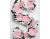 Flower Initial, Wedding Monogram, Felt Flower Wood Letter, Baby shower decor, Pink Gray White nursery decor Baby girl wall art Bridal Shower
