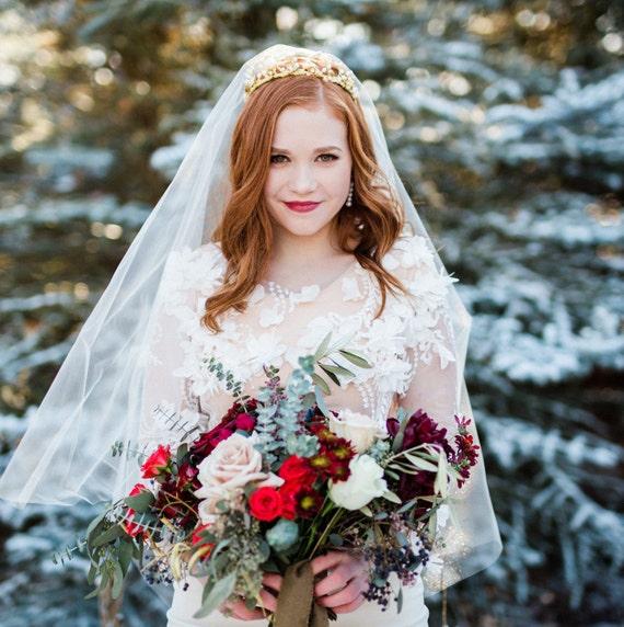 Drop Veil, Blusher Veil, Wedding Veil, Bridal Veil, Simple Veil, Classic Veil with Blusher, Simple Veil, Wedding Veil, Bridal Veil ADELINA