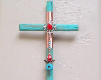 Rustic Cross ~ Day of the Dead Cross ~ Dia de Los Muertos ~ Sugar Skull Cross ~ Saguaro Cactus ~ Wood Cross ~ Southwest Decor ~ Arizona